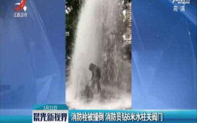上海:消防栓被撞倒 消防员钻6米水柱关阀门
