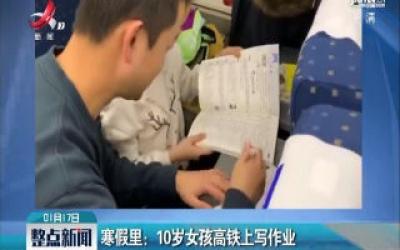 寒假里:10岁女孩高铁上写作业