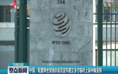 中国、欧盟等世贸组织成员宣布建立多方临时上诉仲裁安排