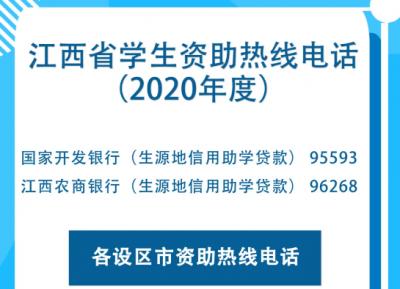 江西省公布2020年学生资助热线电话