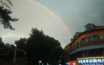 难得一见!庐山雨后现双彩虹奇观