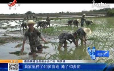 鄱阳湖水位退水加快 民兵助力灾后重建
