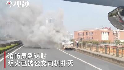 """见义勇为!公交司机变身""""消防员""""成功灭火"""
