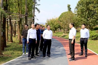 萍乡经开区党工委书记李锦林调度萍水湖湿地公园项目建设
