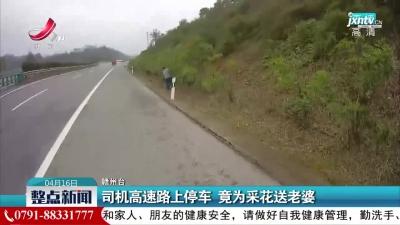 赣州:司机高速路上停车竟为采花送老婆