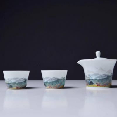 陶瓷旅行茶具套组《游武功山》