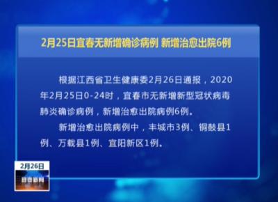 2月25日宜春無新增確診病例 新增治愈出院6例