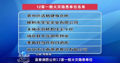 宜春消防公示12家一般火災隱患單位