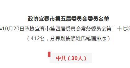 宜春市新一屆政協委員名單出爐
