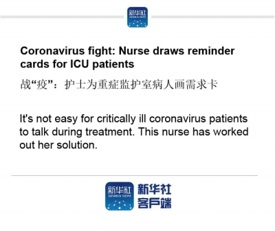 Coronavirus fight: Nurse draws reminder cards for ICU patients
