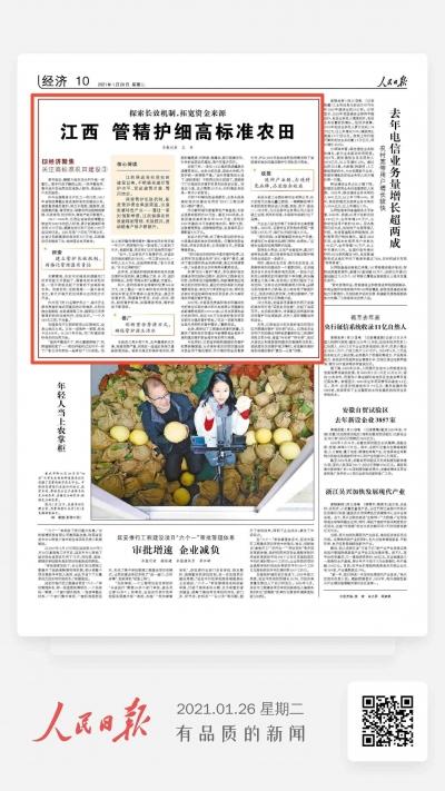 人民日报经济版头条关注:江西高标准农田管精护细