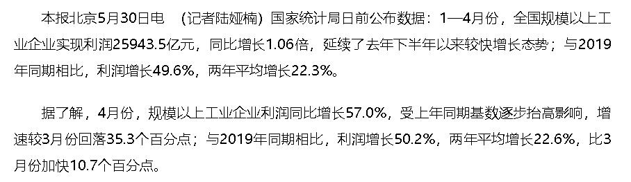 前4月规上工业企业利润同比增长1.06倍