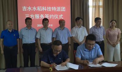 水稻科技特派团三方服务签约仪式暨新型经营主体对接座谈会在我县召开