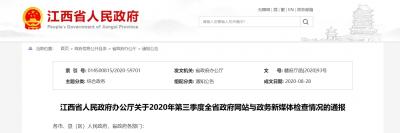 合格率97.82%!第三季度江西省政府网站检查报告发布