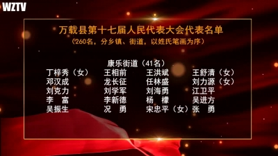 万载县第十七届人民代表大会代表名单